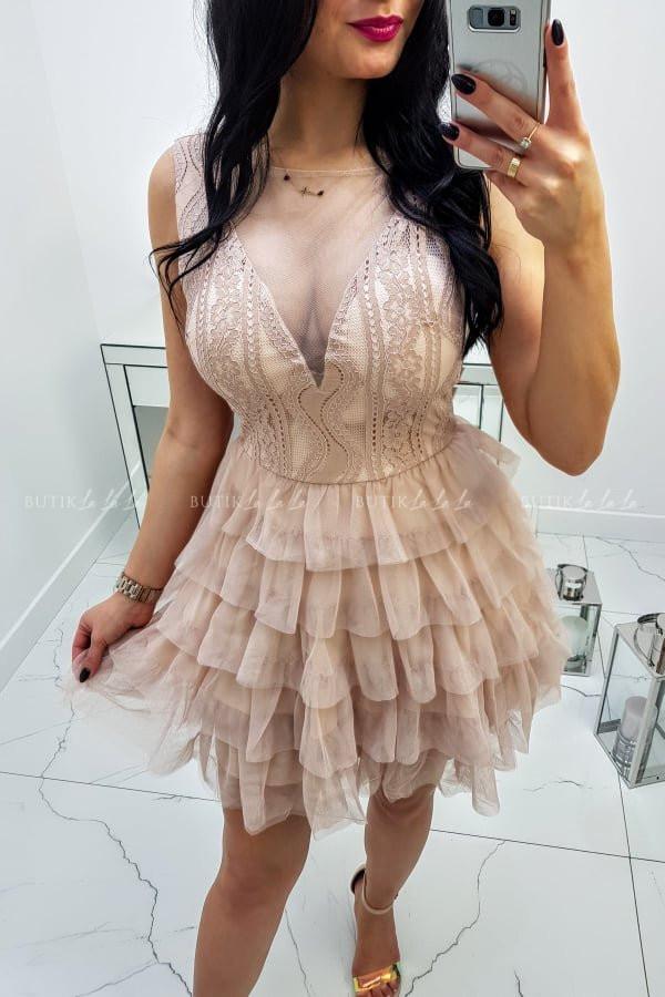 Sukienka nude na ramiączka Nelia - butiklalala.pl