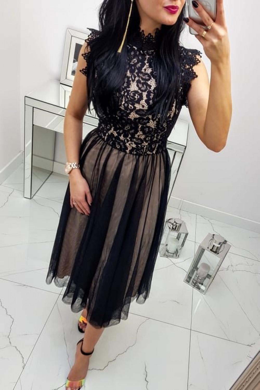 Sukienka Tiffi MIDI Czarno Beżowa