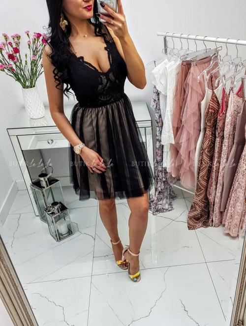Czarno Beżowa Sukienka Alexy