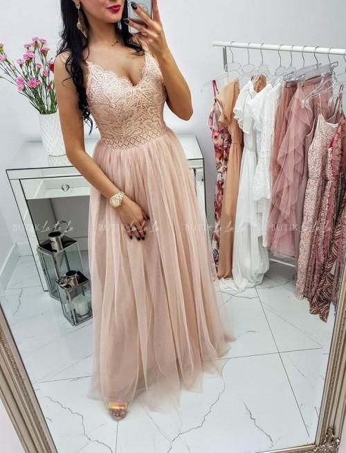 Beżowa Sukienka MAXI Anastazja II