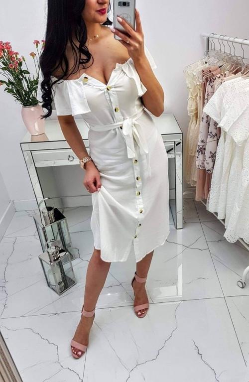 Sukienka hiszpanka z paskiem Buttons White