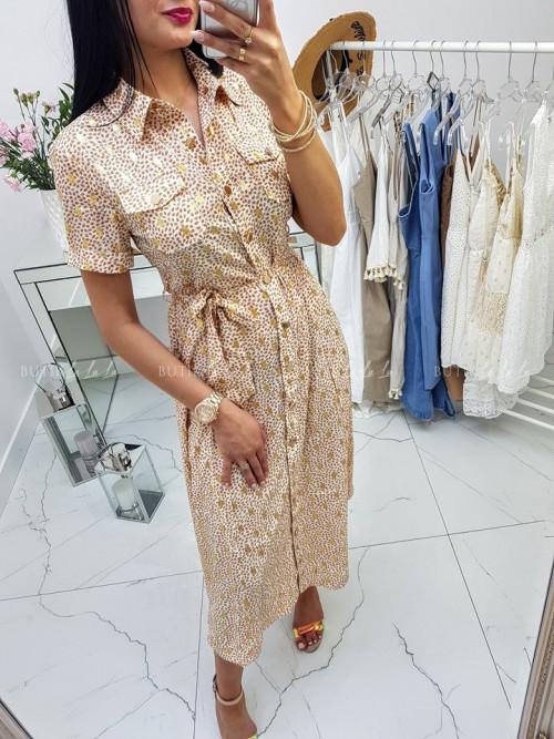 Sukienka Evii Gold na guziki