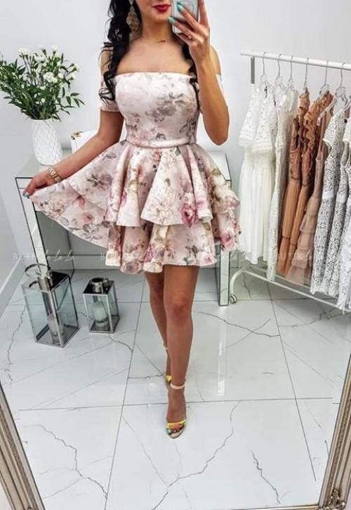 Sukienka rozkloszowana w kwiaty Elen