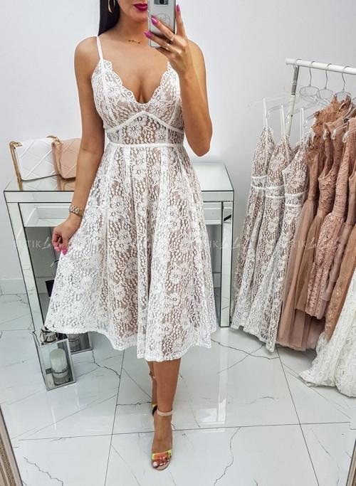 Sukienka midi koronkowa biała Euforia