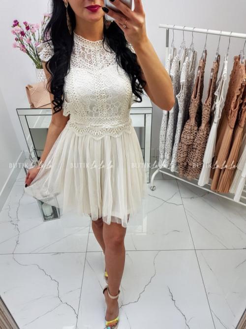 Sukienka z koronkową górą i tiulowym dołem ecru Lili McBy