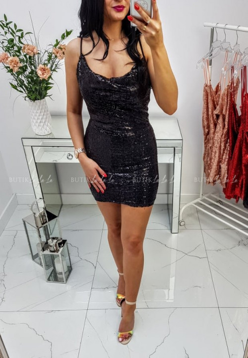 Sukienka Czarna cekinowa Shine
