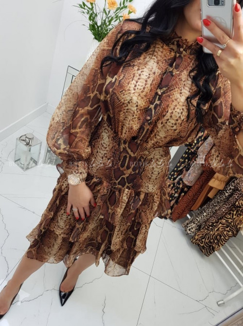 Sukienka brązowa z trzema falbanami Snake