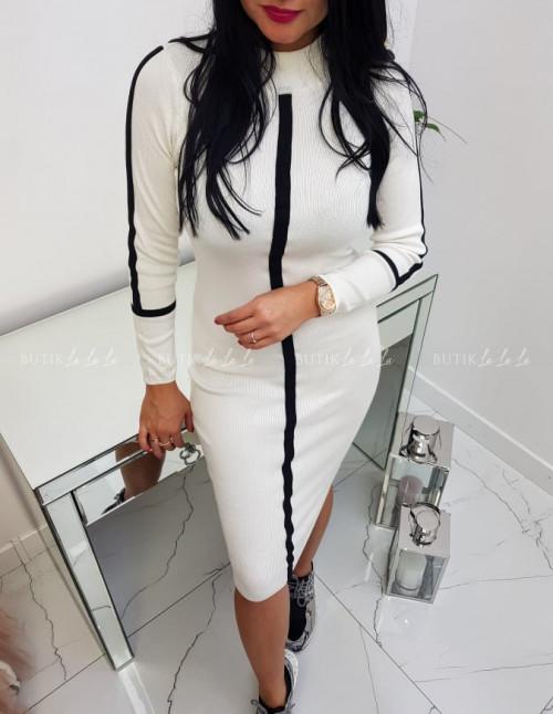 Sukienka Prążkowana Biała Inez