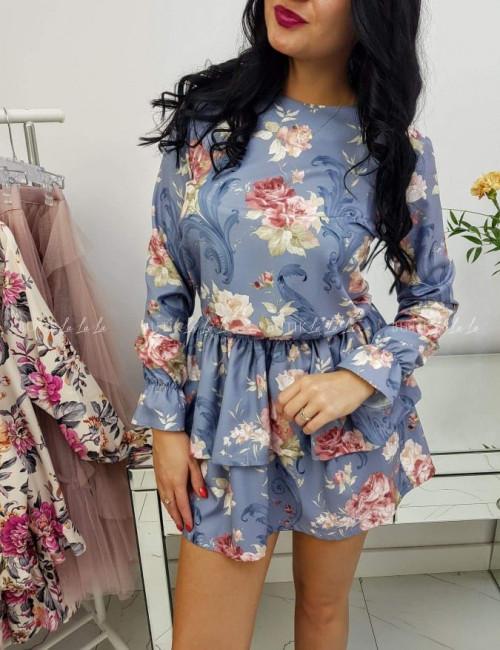Sukienka niebieska w kwiaty Flores