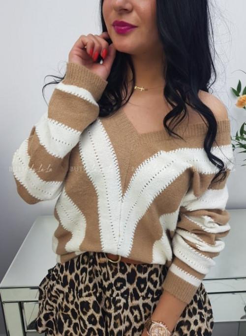 Sweter Biało/Beżowy Millenium