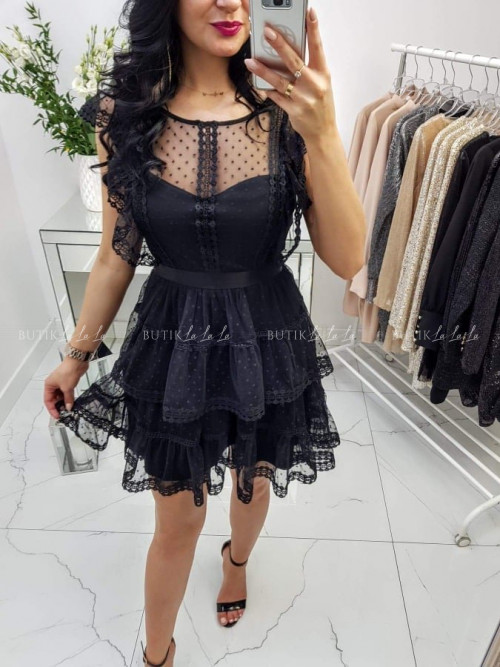 Sukienka Koronkowa Czarna Amadie