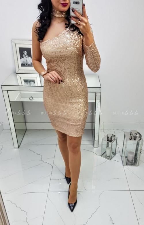 Sukienka złota cekinowa z Chokerem
