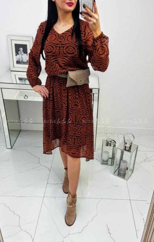 Sukienka Brązowo/Czarna Morgan