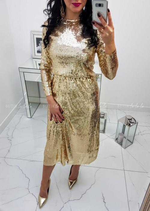 Sukienka Złota Cekinowa Frances