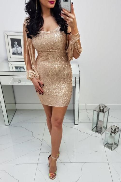 Sukienka Cekinowa Złota Diwa