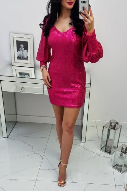 Sukienka Cekinowa Różowa Sava