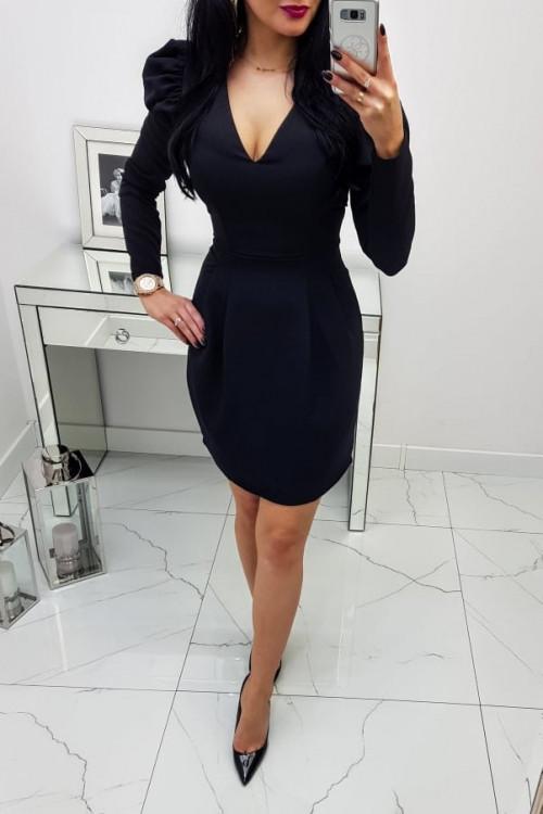 Sukienka Czarna z bufiastymi rękawami Blanca