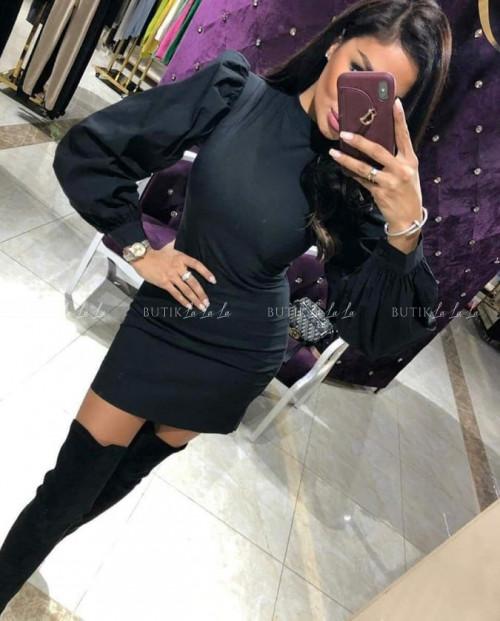Sukienka Czarna z bufiastym rękawem Olga
