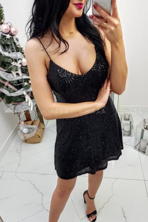 Sukienka Czarna cekinowa na ramiączka Lilly