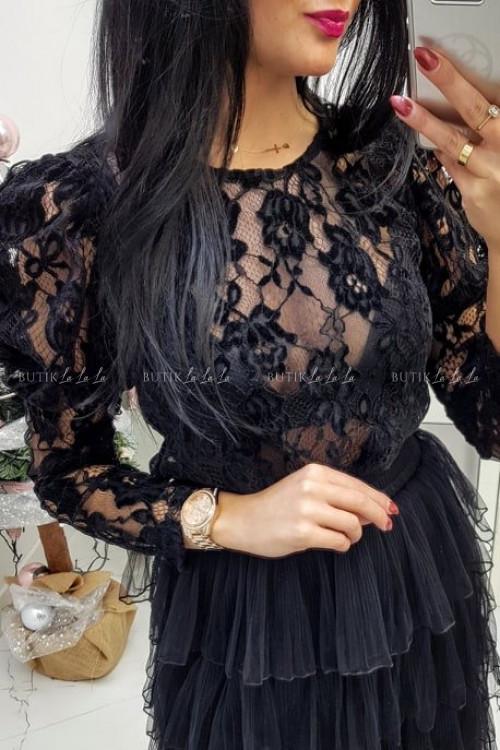 Bluzka Czarna koronkowa z bufiastym rękawem