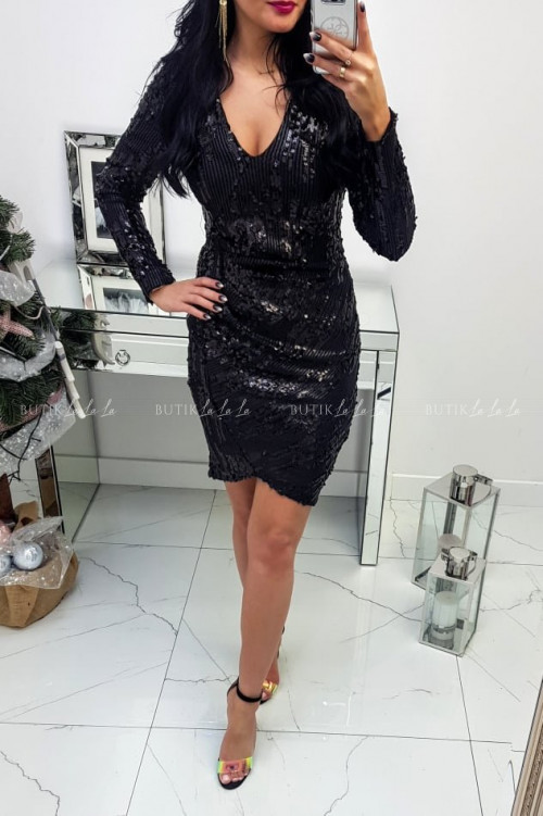 Sukienka czarna cekinowa Izabell