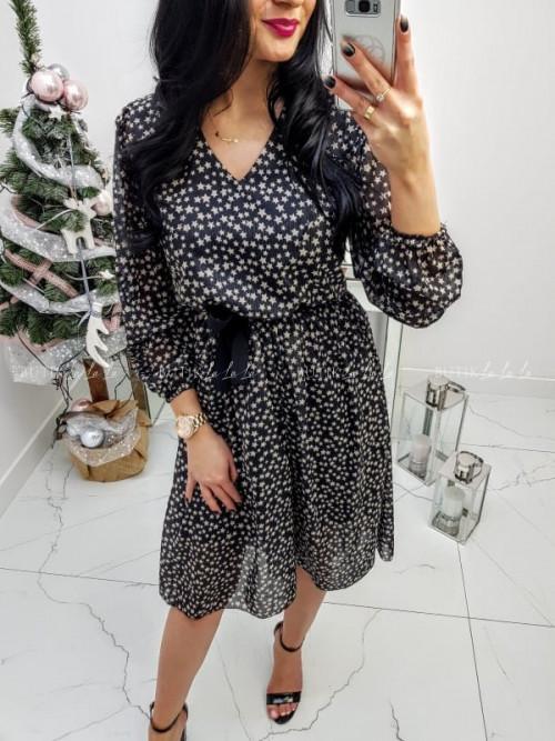 Sukienka Czarna w gwiazdki Xana