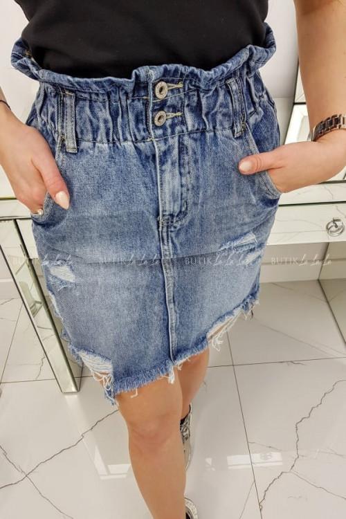 Spódniczka jeansowa z dziurami i gumką Nadia