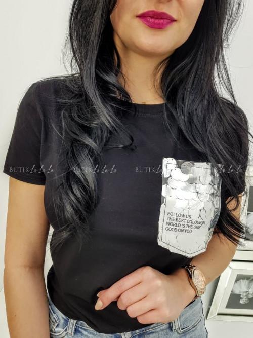 Bluzka Czarna z ozdobną kieszonką