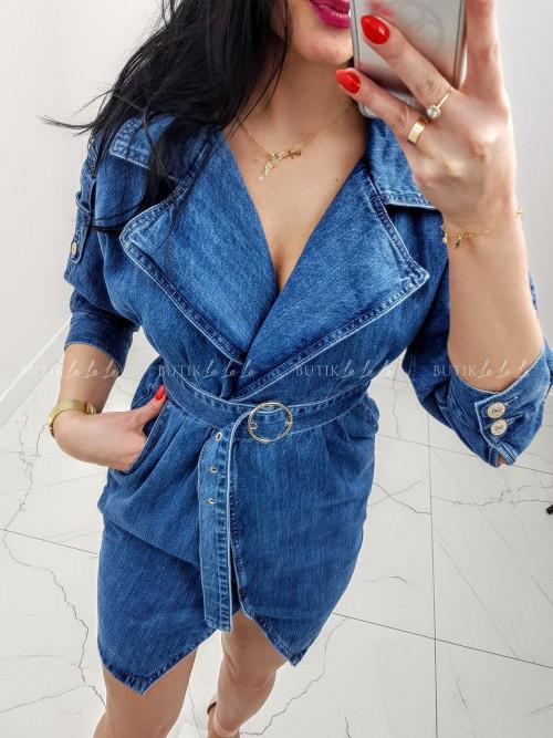 Sukienka ciemny jeans nietoperz