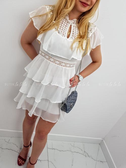 Sukienka Biała z falbanką przy dekolcie MAYA