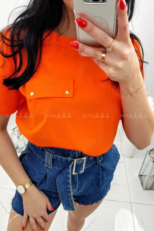 Pomarańczowy T-shirt z kieszonką