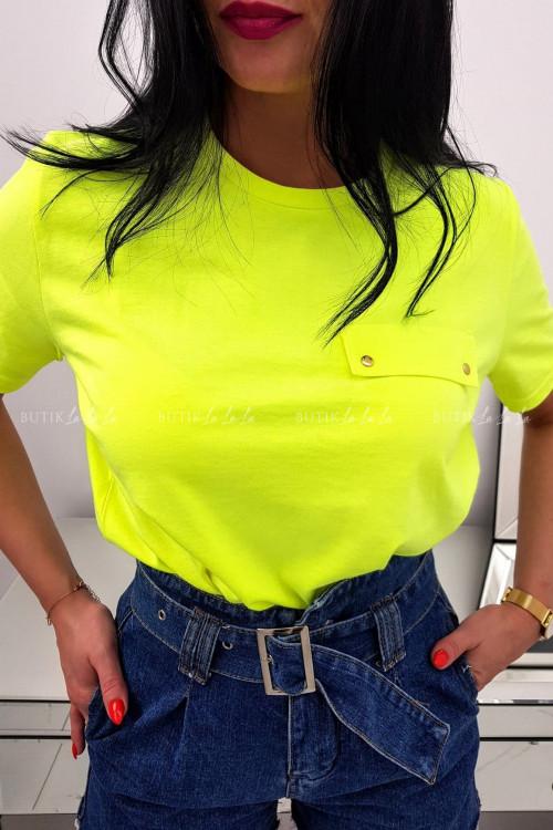 Żółty T-shirt z kieszonką