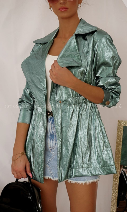 Przedłużana kurtka metaliczna Azaka