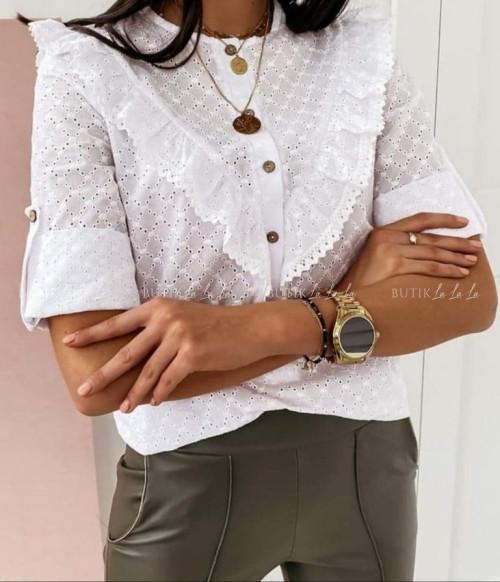 Bluzka ażurkowa biała z guziczkami