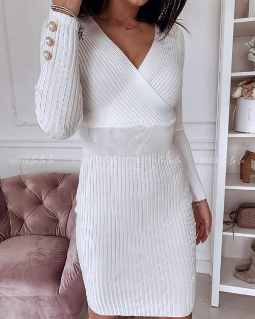 Sukienka biała prążkowana Alisa