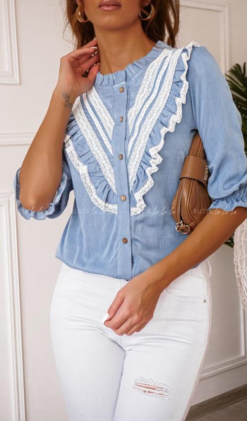 Bluzka blue jeans z falbanką