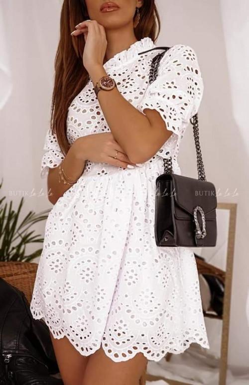 Sukienka ażurowa biała Diana