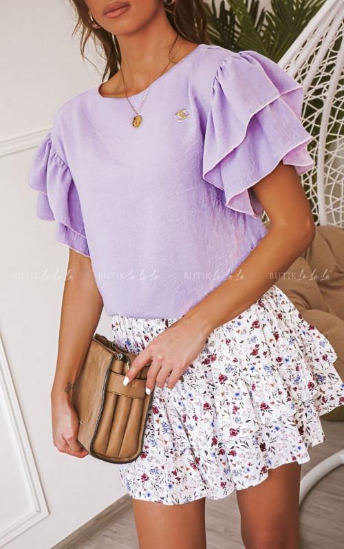 Wrzosowa bluzka Amber z ozdobnym rękawem