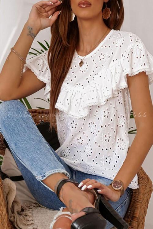 Bluzka biała ażurowa z falbaną Nina