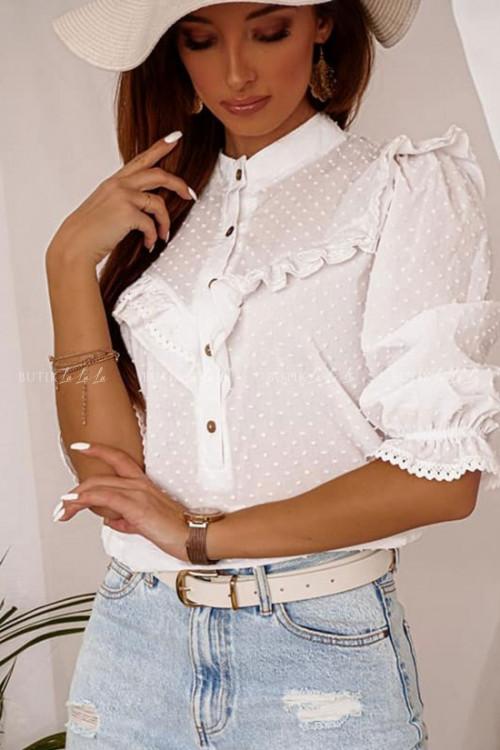 bluzka biała z guzikami i falbaną Liamo