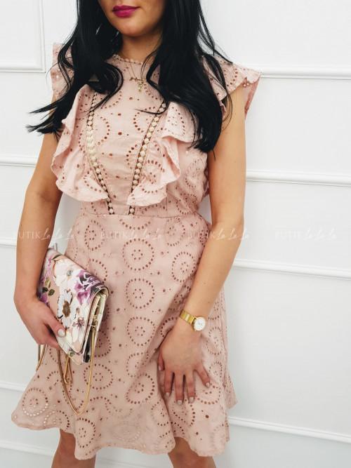 Sukienka Pudrowy Róż ażurowa z odkrytymi plecami