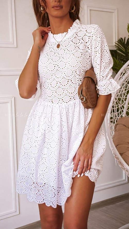 Sukienka Biała ażurowa Dorio