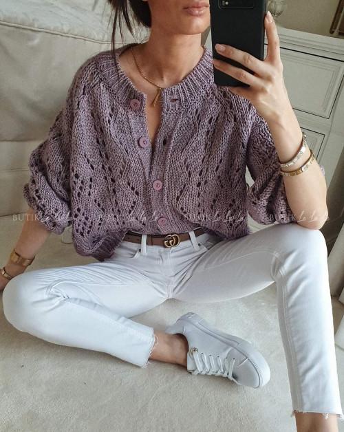 Sweter rozpinany fioletowy ażurowy Molly