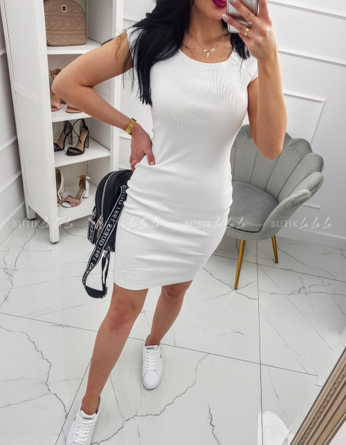 Sukienka Biała dopasowana prążek Dina