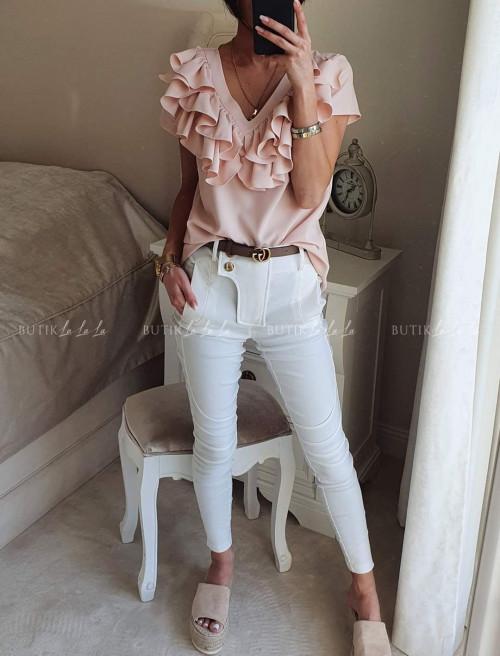 Bluzka Pudrowy Róż z falbanką By Me
