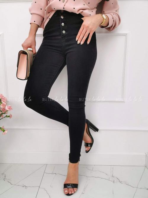 Spodnie z wysokim stanem na guziki czarne Nana