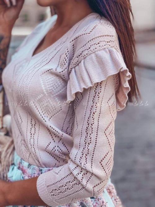 Sweter Pudrowy Róż z falbanką przy rękawie Arion
