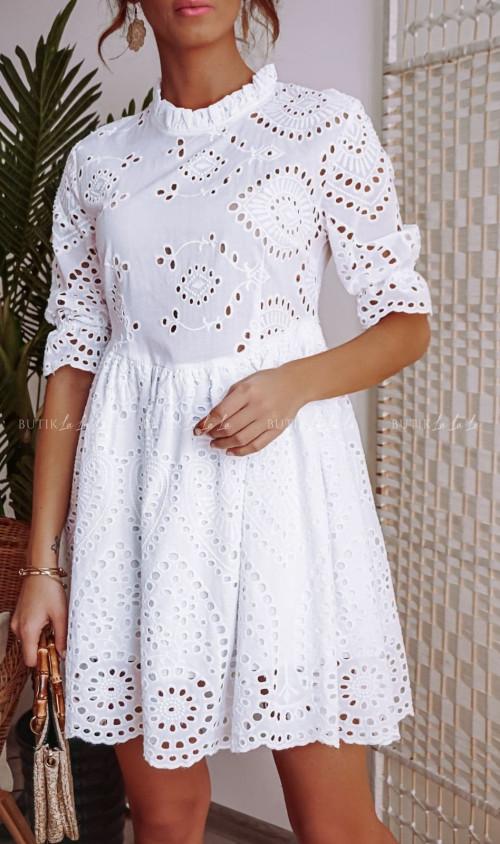 Sukienka Biała Ażurowa Sisi