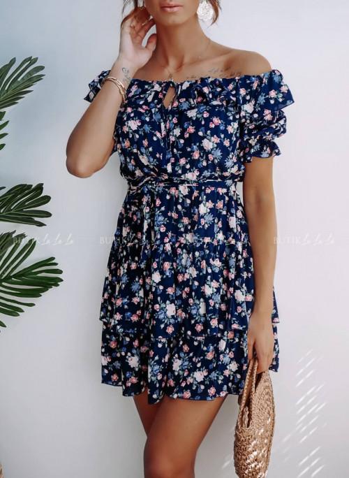 Sukienka Granatowa w kwiatki Mio