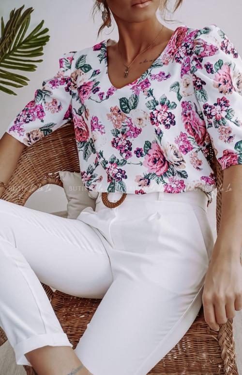 Bluzka Biała w kwiatki i bufiastym rękawem Mano